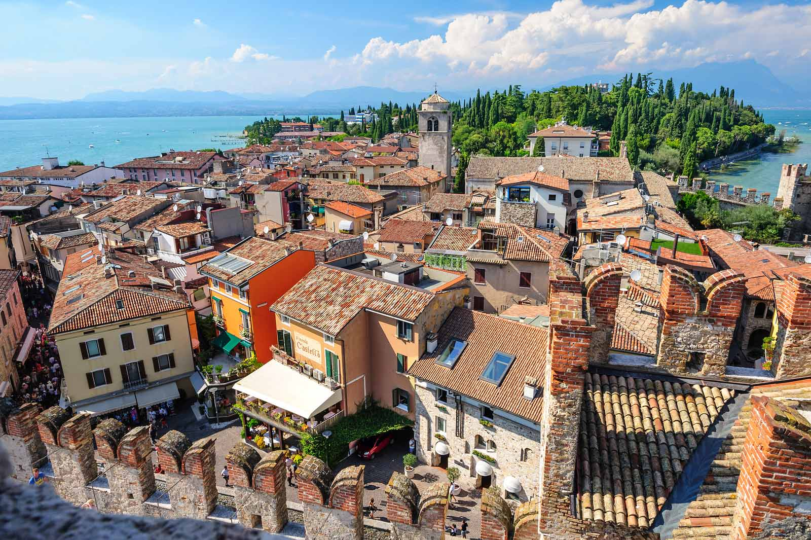 The view from the castle of Sirmione, one of the iconic towns of the Lugana DOC wine appellation on the shores of Lake Garda.
