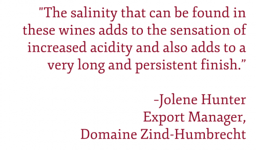 """QUOTE: """"The salinity that can be found in these wines adds to the sensation of increased acidity and also adds to a very long and persistent finish."""" –Jolene Hunter Export Manager, Domaine Zind-Humbrecht"""