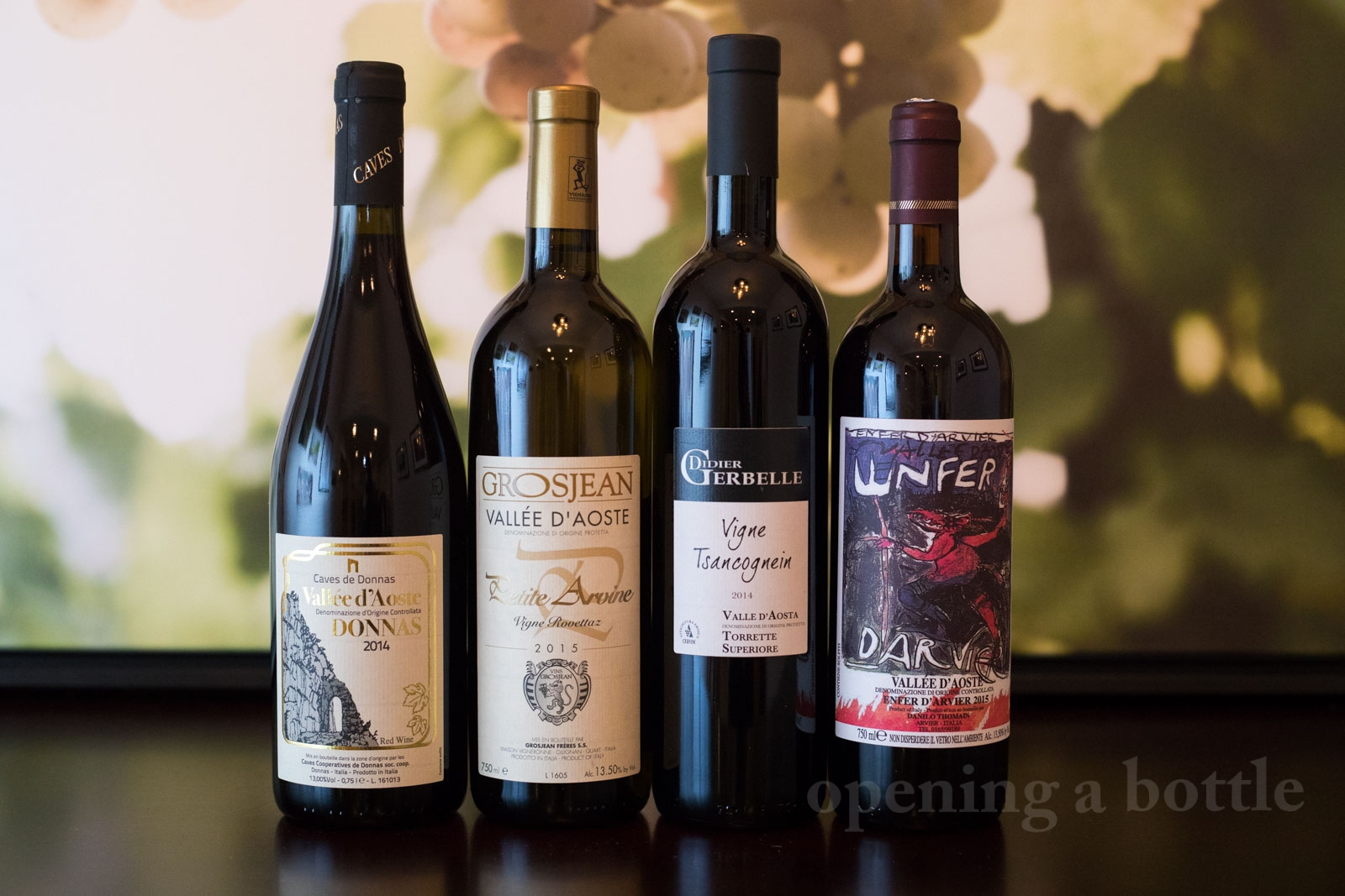 A few wines from Valle d'Aosta. ©Kevin Day/Opening a Bottle