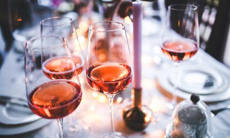 Glasses of rosé wine