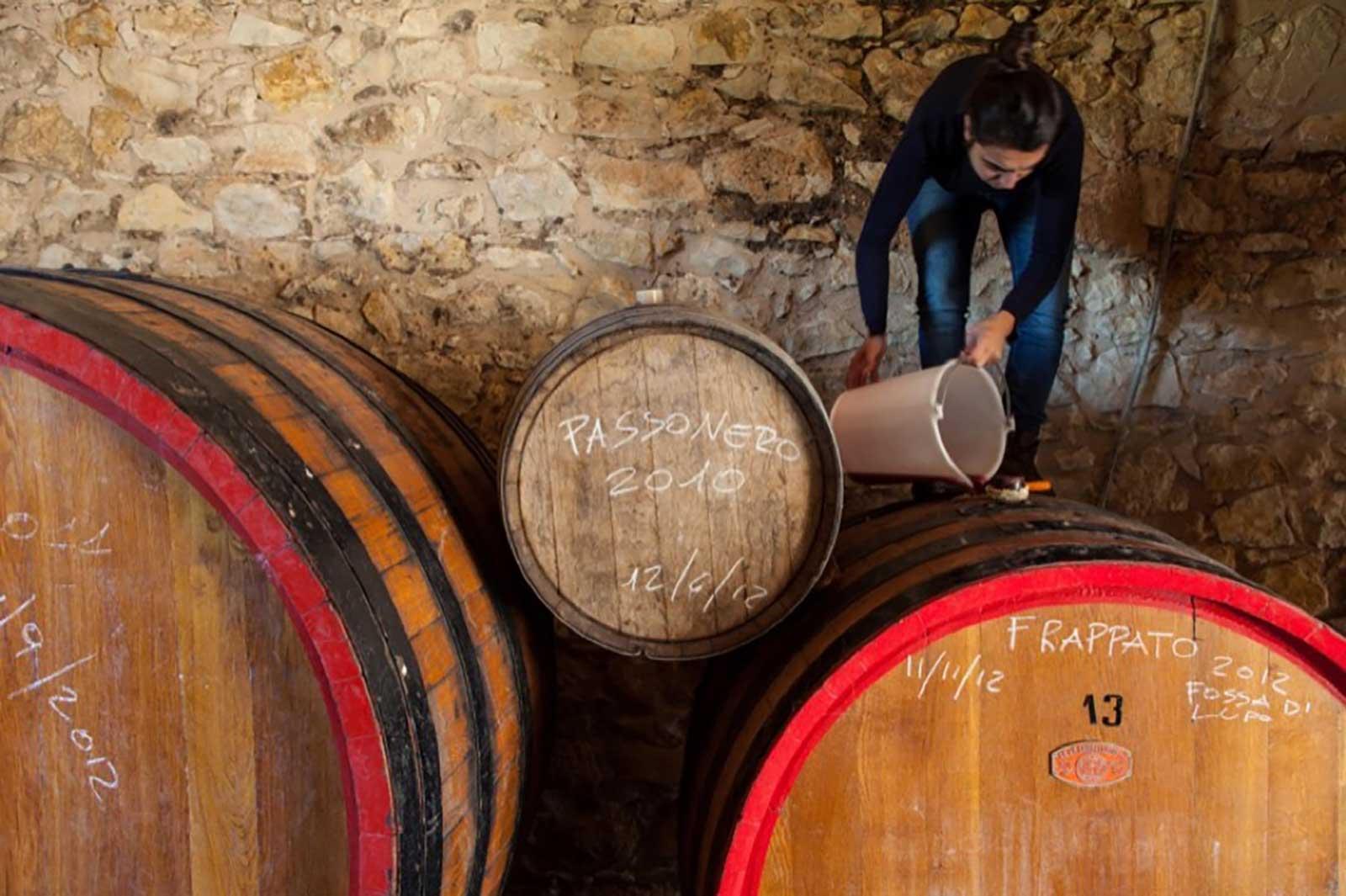 Arianna Occhipinti in her winery. ©Azienda Agricola Arianna Occhipinti