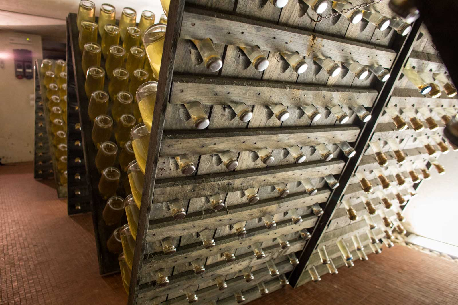 Riddling racks of Moscato Giallo at Maeli. ©Kevin Day/Opening a Bottle