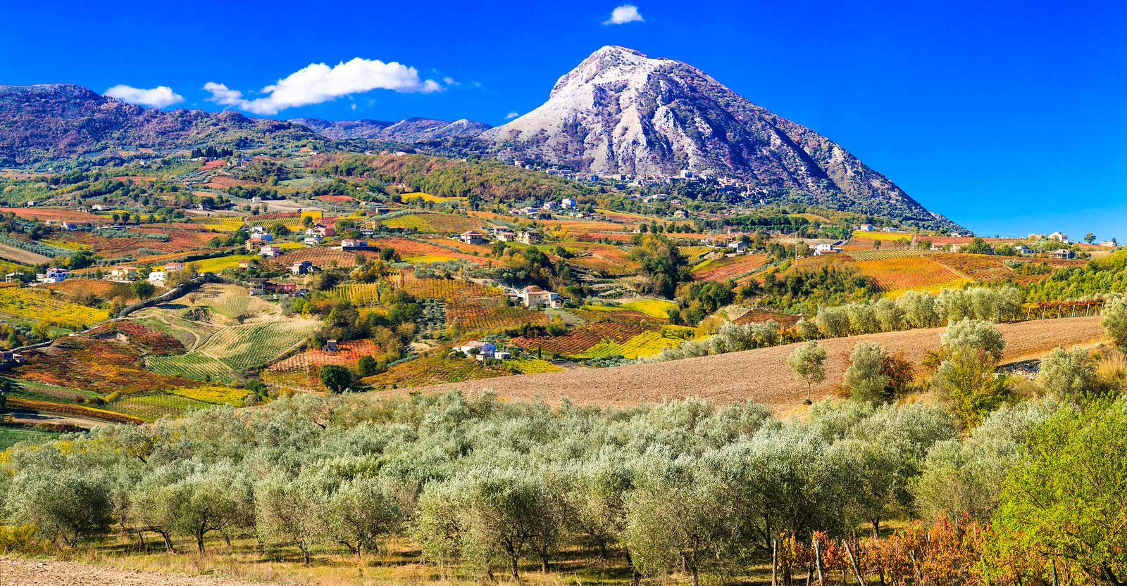 The spectacular landscape of Benevento province in Campania, Italy.