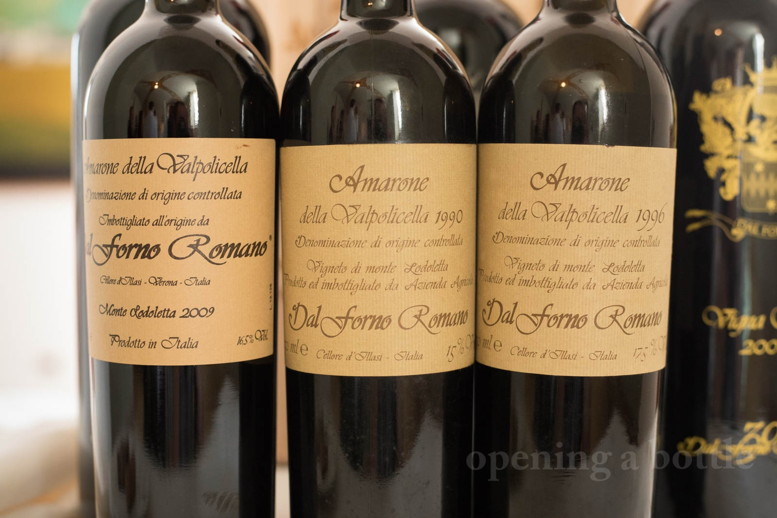 "The 2009 Dal Forno Romano ""Monte Lodoletta"" Amarone della Valpolicella DOCG is joined by the 1990 and 1996 Dal Forno Romano Amarone della Valpolicella ©Kevin Day/Opening a Bottle"