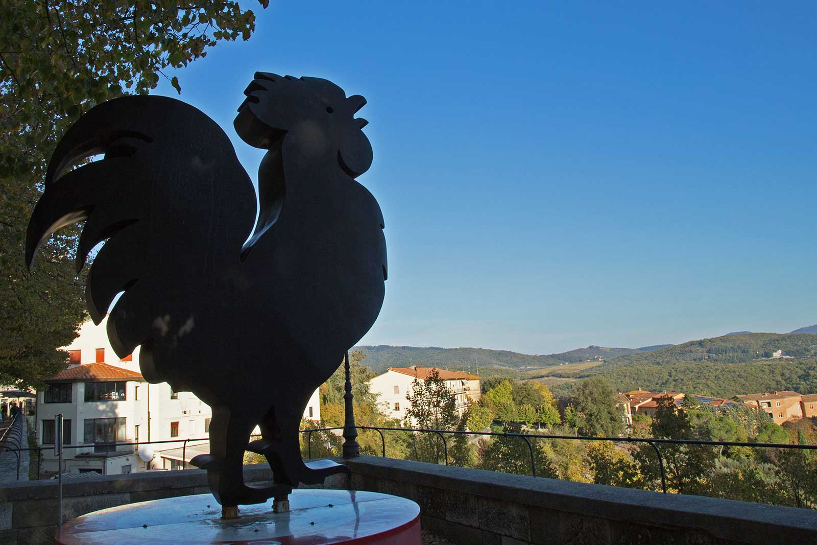 The iconic gallo nero makes an appearance across Chianti Classico (here in Radda in Chianti) as a symbol of regional pride. ©Angie Day