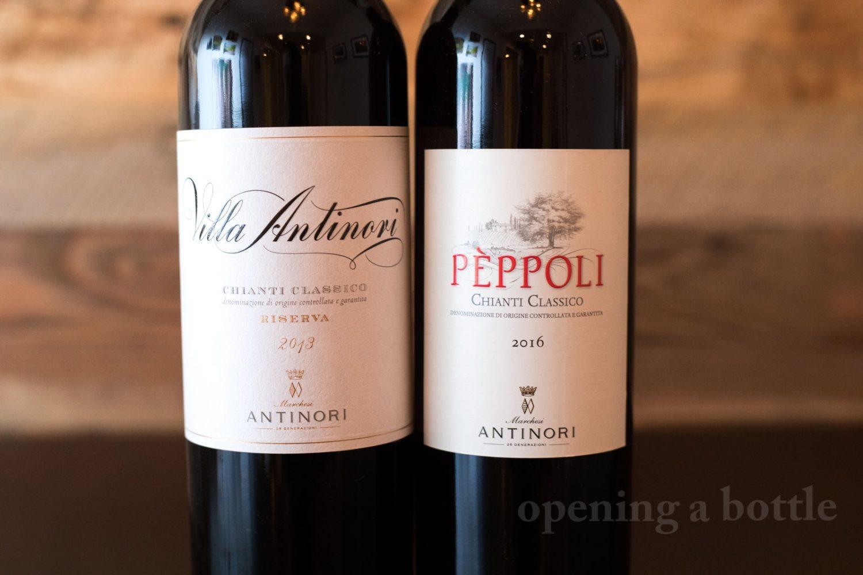 Two Chianti Classico from Antinori: the 2016 Villa Antinori Chianti Classico Riserva and the 2016 Pèppoli Chianti Classico. ©Kevin Day/Opening a Bottle