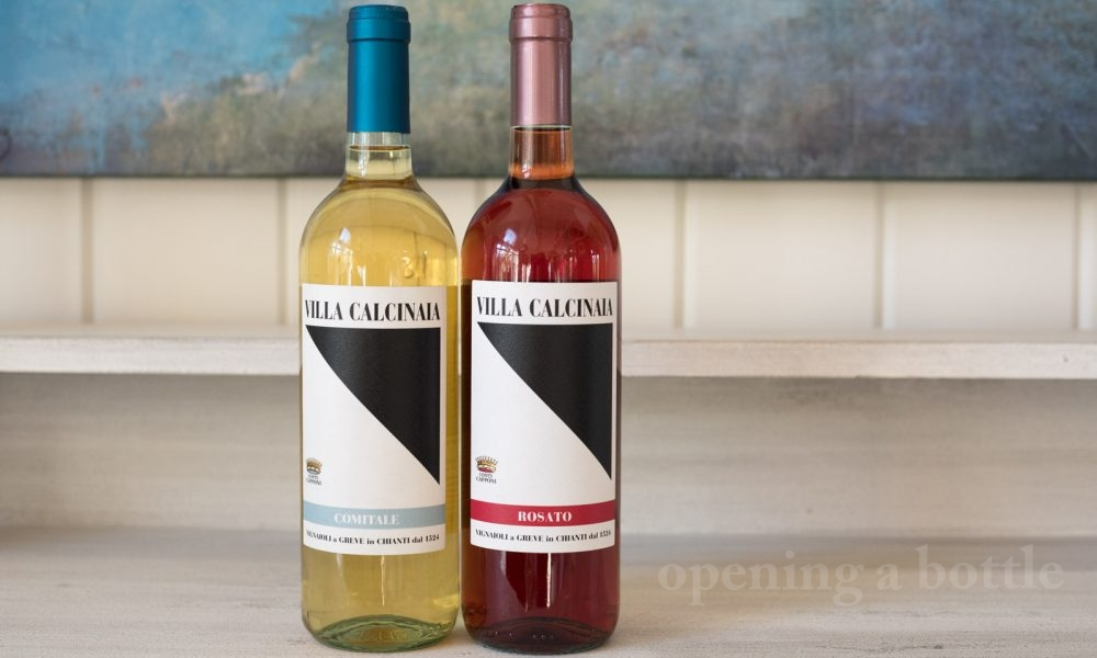 Two wines from Villa Calcinaia — a white blend of Grechetto and Vernaccia and a rosato of Canaiolo. ©Kevin Day/Opening a Bottle