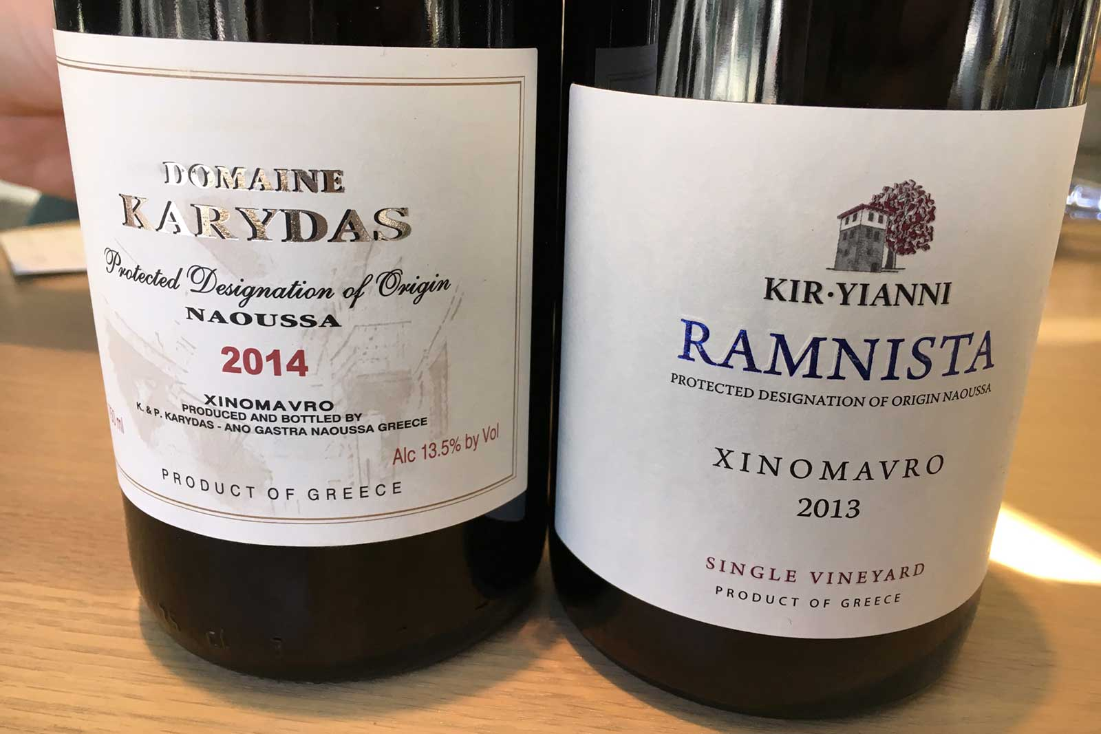 "2014 Domaine Karydas Naoussa Xinomavro and the 2013 Kir-Yianni Estate ""Ramnista"" Xinomavro ©Kevin Day/Opening a Bottle"
