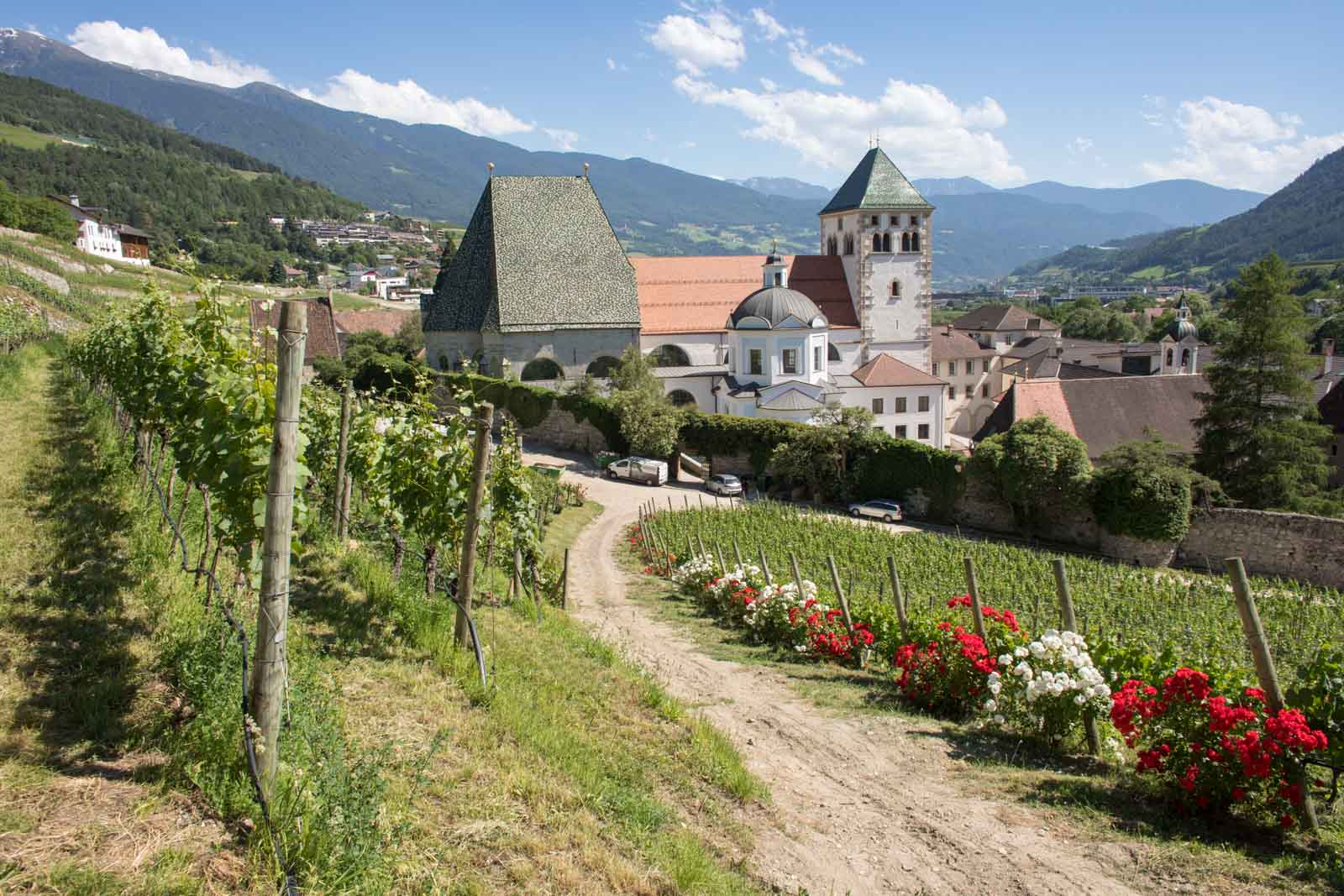 A view over the vineyards and abbey of Abbazia di Novacella near Bressanone, Italy. ©Kevin Day/Opening a Bottle