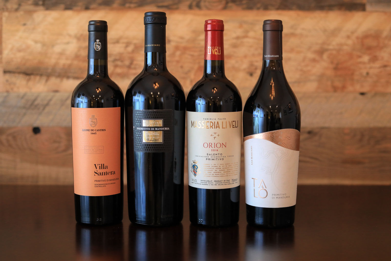 A selection of Primitivo wines from Manduria and the greater Salento area. ©Kevin Day/Opening a Bottle