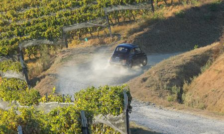 Driving a cool Italian Fiat through the vineyards of the Brunate cru, La Morra (Barolo), Italy. ©Kevin Day/Opening a Bottle