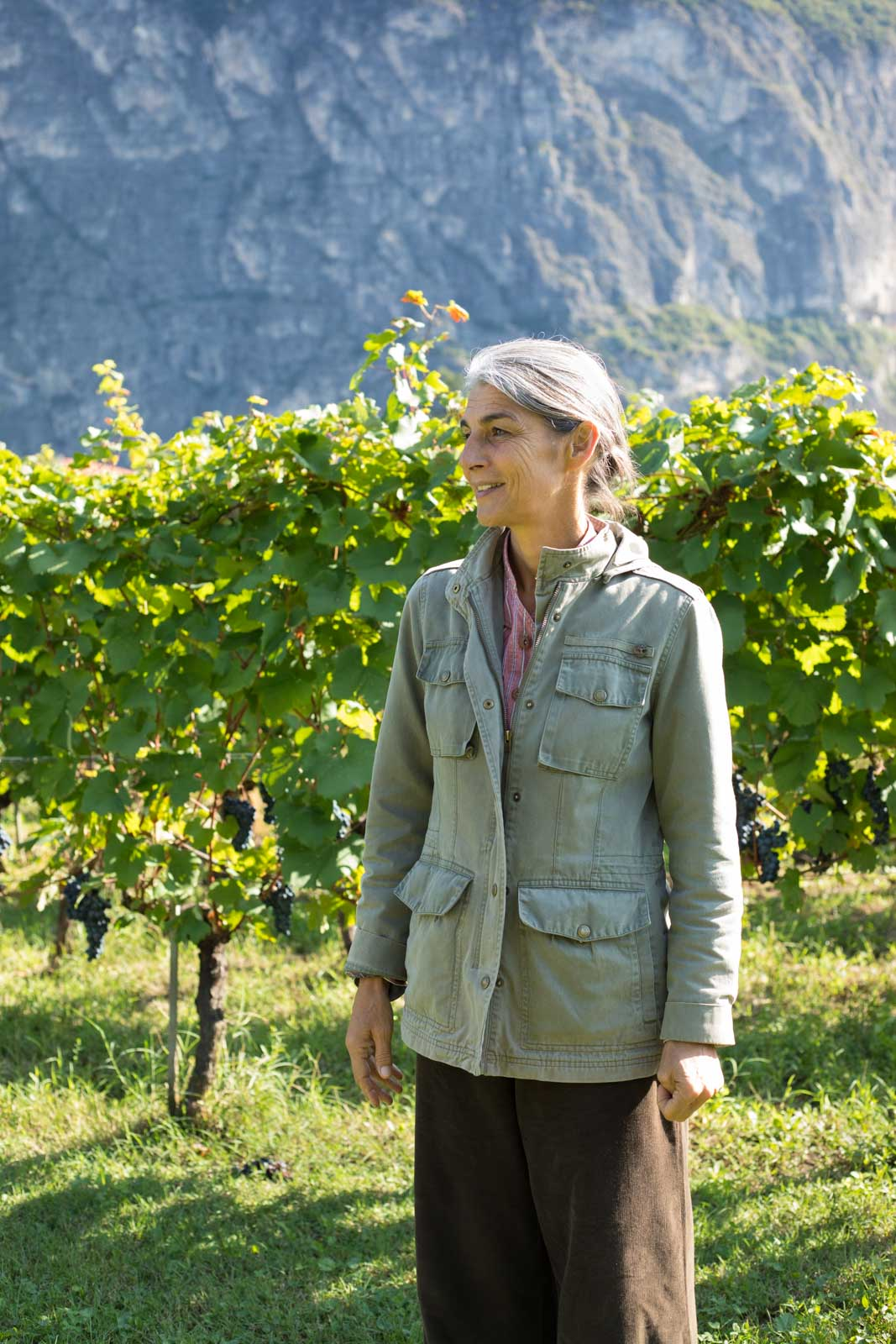 """Elisabetta Foradori in her """"forest of grapes"""" in Mezzolombardo, Italy. ©Kevin Day/Opening a Bottle"""