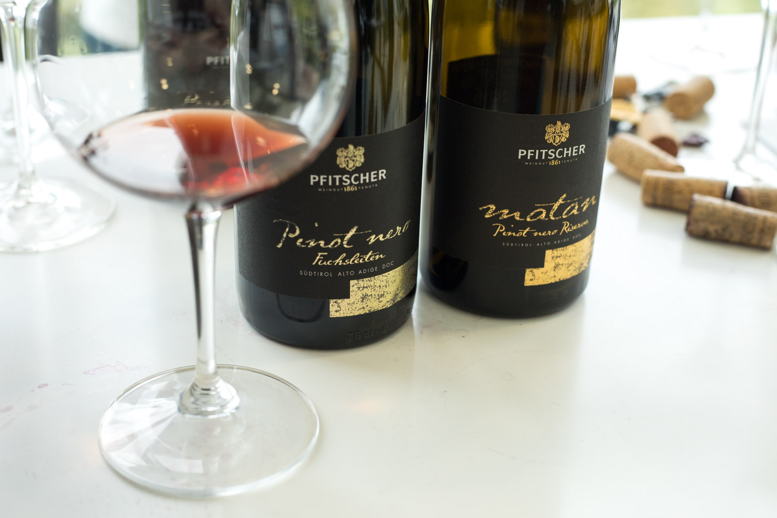 Pfitscher's range of Pinot Noir. ©Kevin Day/Opening a Bottle