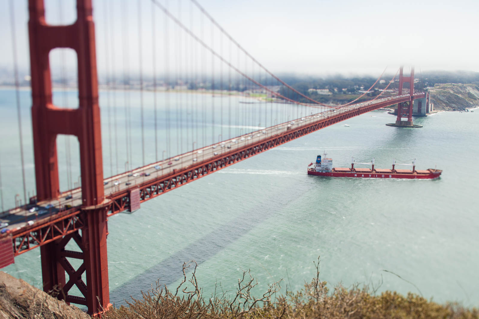 A freighter exits the San Francisco Bay. ©Kevin Day/Opening a Bottle