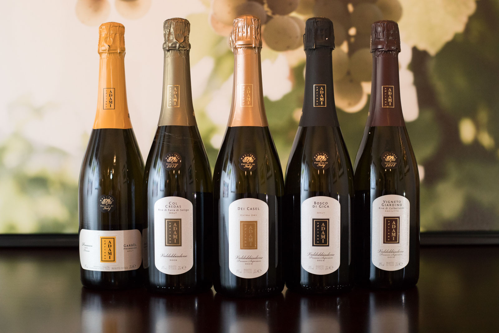 The wines of Adami Prosecco. ©Kevin Day/Opening a Bottle