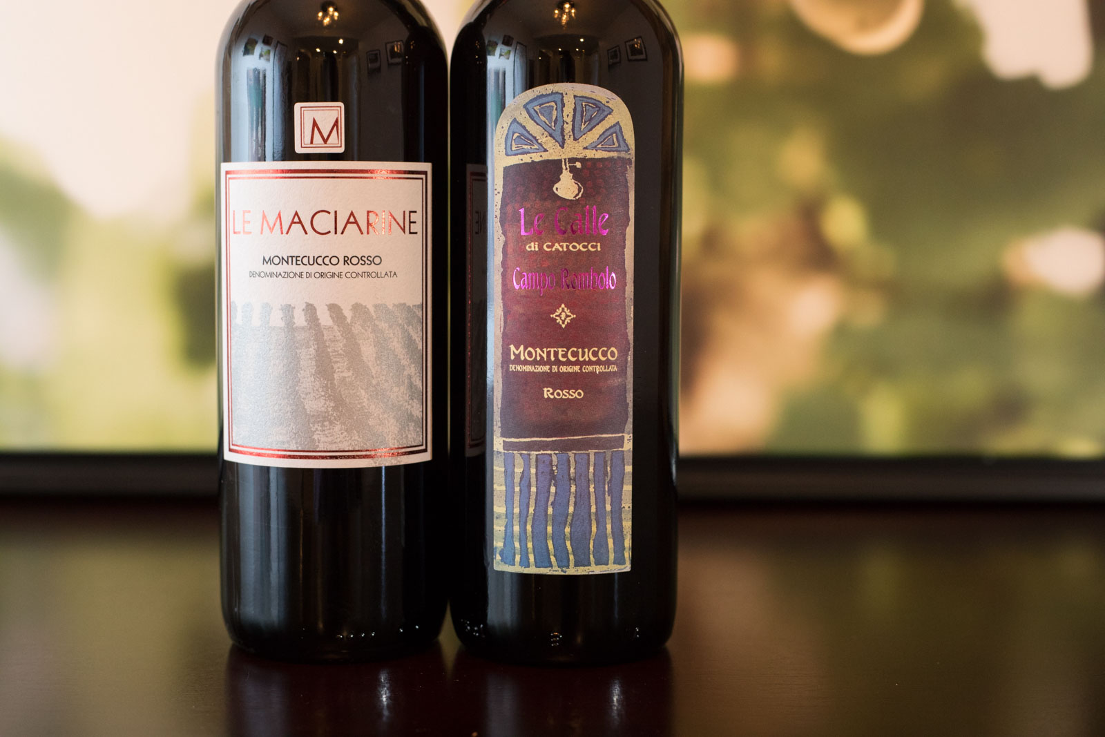 Sangiovese wines from Montecucco DOC Italy: Le Calle and Le Maciarine ©Kevin Day/Opening a Bottle