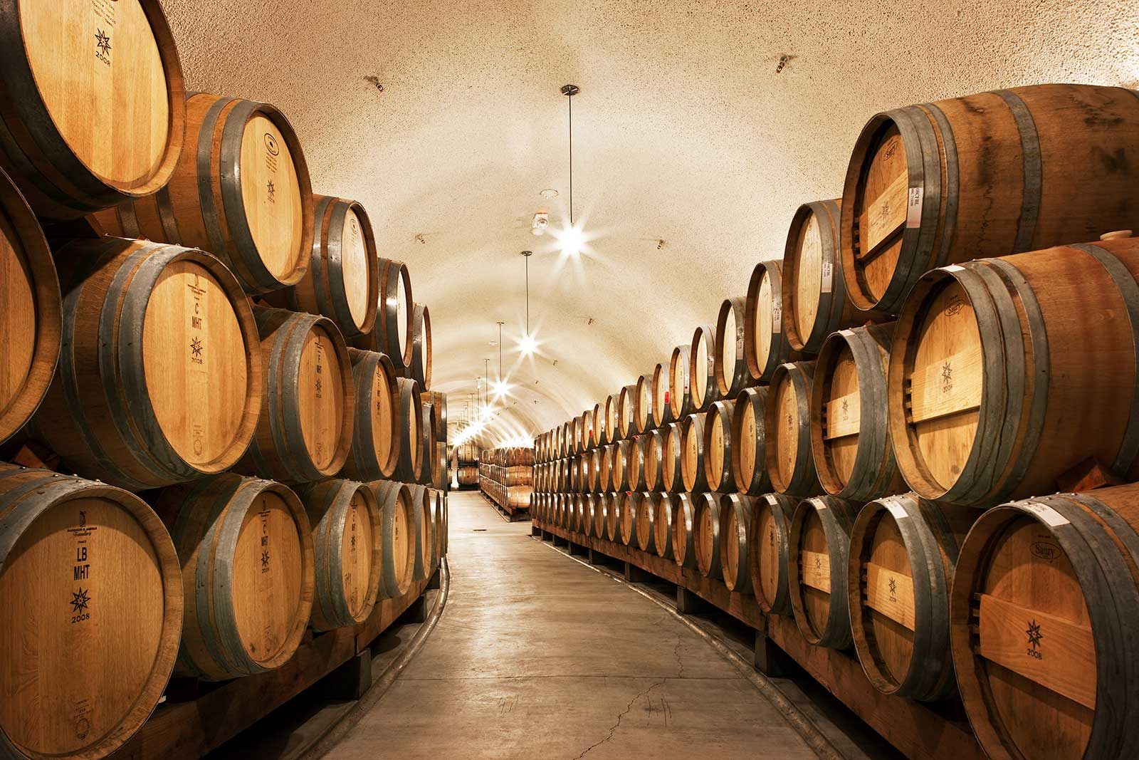 The barrel room at the Dierberg Estate, where Tyler Thomas draws from various plots to blend his Pinot Noir. ©Kirk Irwin