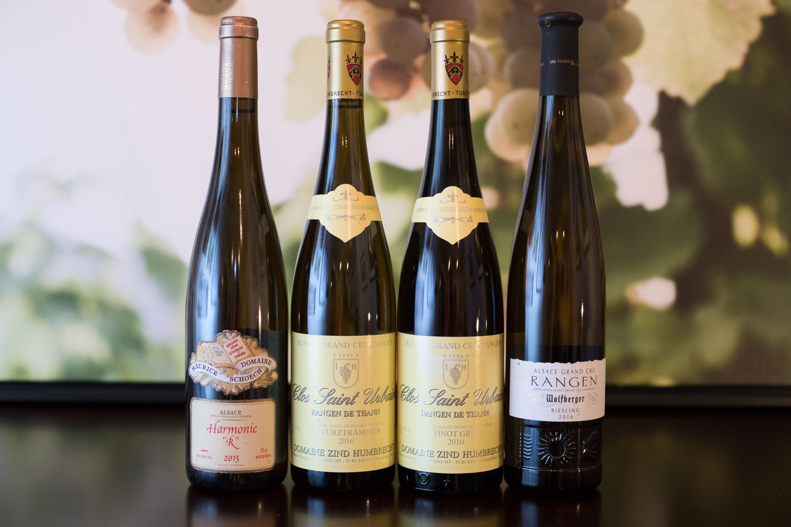 Four wines from the Grand Cru Rangen de Thann ©Kevin Day/Opening a Bottle