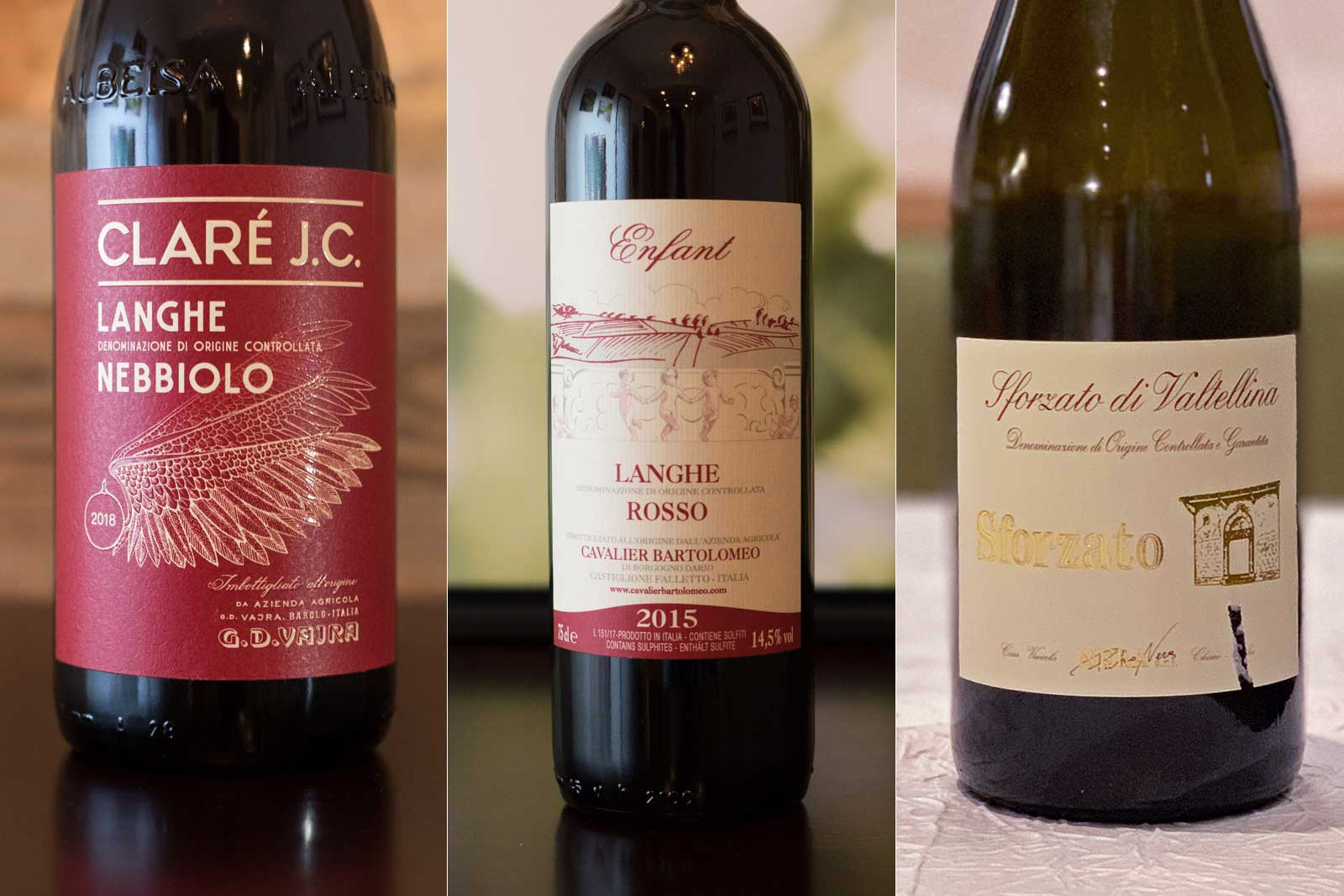 Nebbiolo wines of different vinification styles from GD Vajra, Cavalier Bartolomeo and Pietro Nera ©Kevin Day/Opening a Bottle