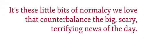 "Pullquote: ""It's these little bits of normalcy we love that counterbalance the big, scary, terrifying news of the day."""