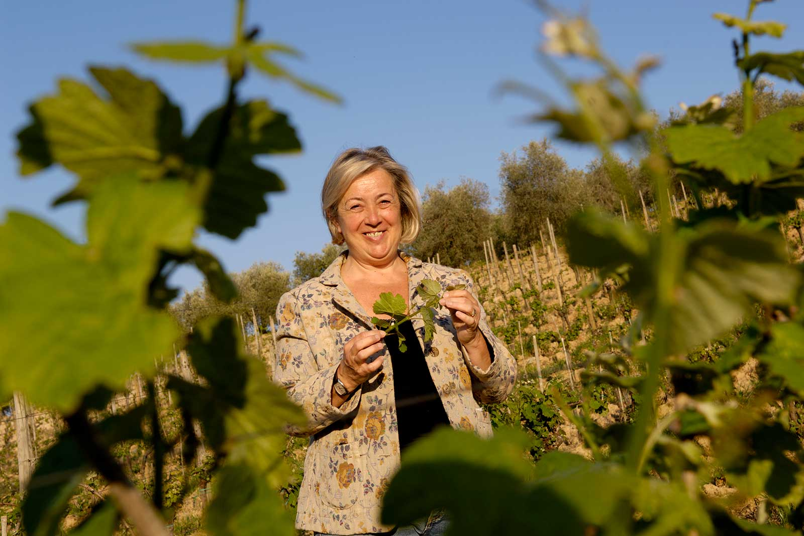 Donatella Cinelli Colombini in the vineyards of Montalcino. ©Banville Wine Merchants
