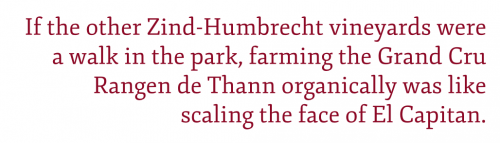 "Pull quote: ""If the other Zind-Humbrecht vineyards were a walk in the park, farming the Grand Cru Rangen de Thann organically was like scaling the face of El Capitan."" ©Kevin Day"