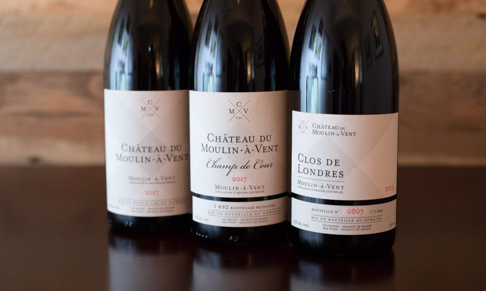 Three wines from Château du Moulin-à-Vent ©Kevin Day/Opening a Bottle