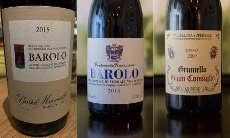 """2015 Bartolo Mascarello Barolo, 2015 Fernando Principiano Barolo, 2009 ARPEPE """"Buon Consiglio"""" Valtellina Superiore Grumello ©Kevin Day/Opening a Bottle"""