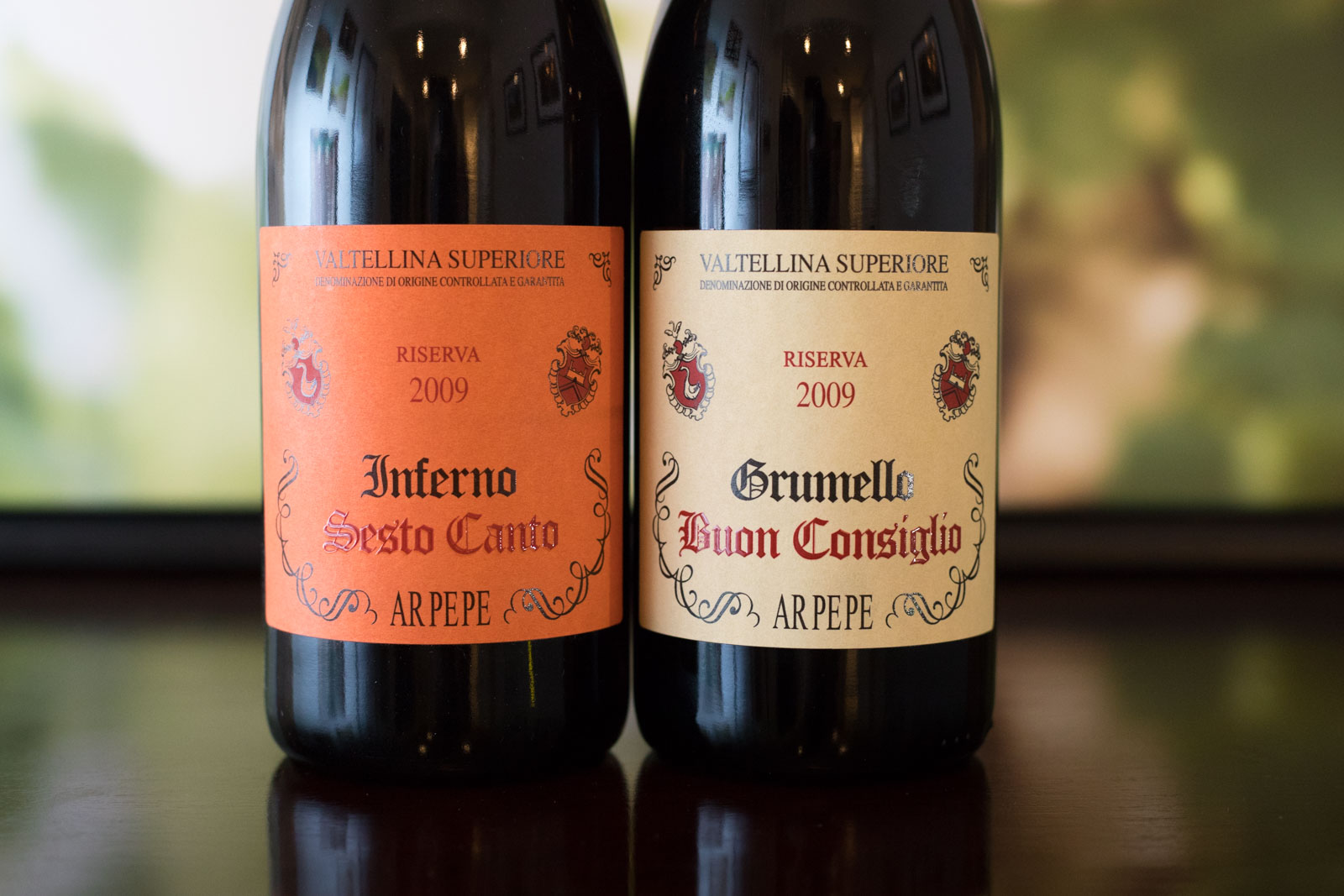 "The 2009 ARPEPE ""Sesto Canto"" Valtellina Superiore Inferno and the 2009 ARPEPE ""Buon Consiglio"" Valtellina Superiore Grumello. ©Kevin Day/Opening a Bottle"