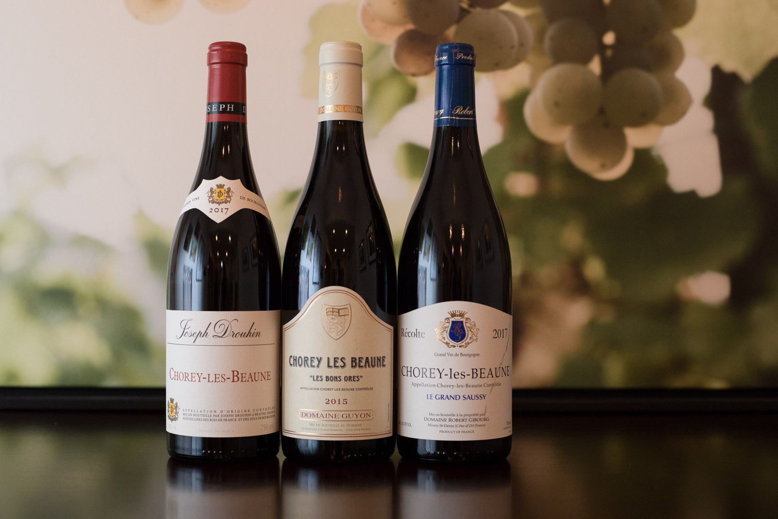 Three wines from Chorey-les-Beaune. ©Kevin Day/Opening a Bottle