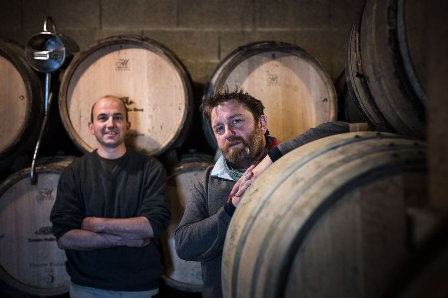 Brothers Patrice (left) and Emmanuel Guillot (right) have carried on the family winery from their father, Jean-Gérard. ©Domaine Guillot-Broux