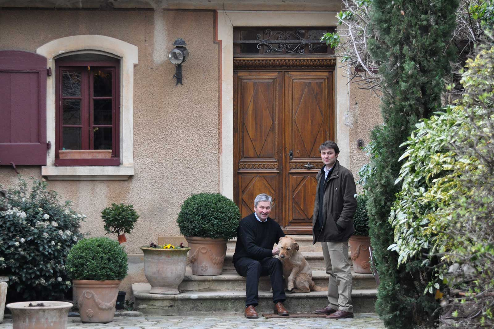 Claude-Vincent Geoffray and son, Claude-Edouard Geoffray, at the Odenas estate. ©Kermit Lynch Wine Merchants
