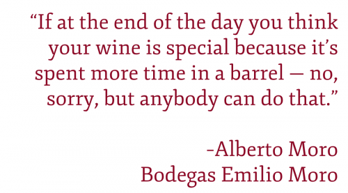 """Pullquote: """"""""If at the end of the day you think your wine is special because it's spent more time in a barrel — no, sorry, but anybody can do that."""" –Alberto Moro"""