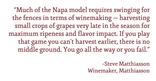 """Pull quote: """"""""Much of the Napa model requires swinging for the fences in terms of winemaking — harvesting small crops of grapes very late in the season for maximum ripeness and flavor impact. If you play that game you can't harvest earlier, there is no middle ground. You go all the way or you fail."""" –Steve Matthiasson"""