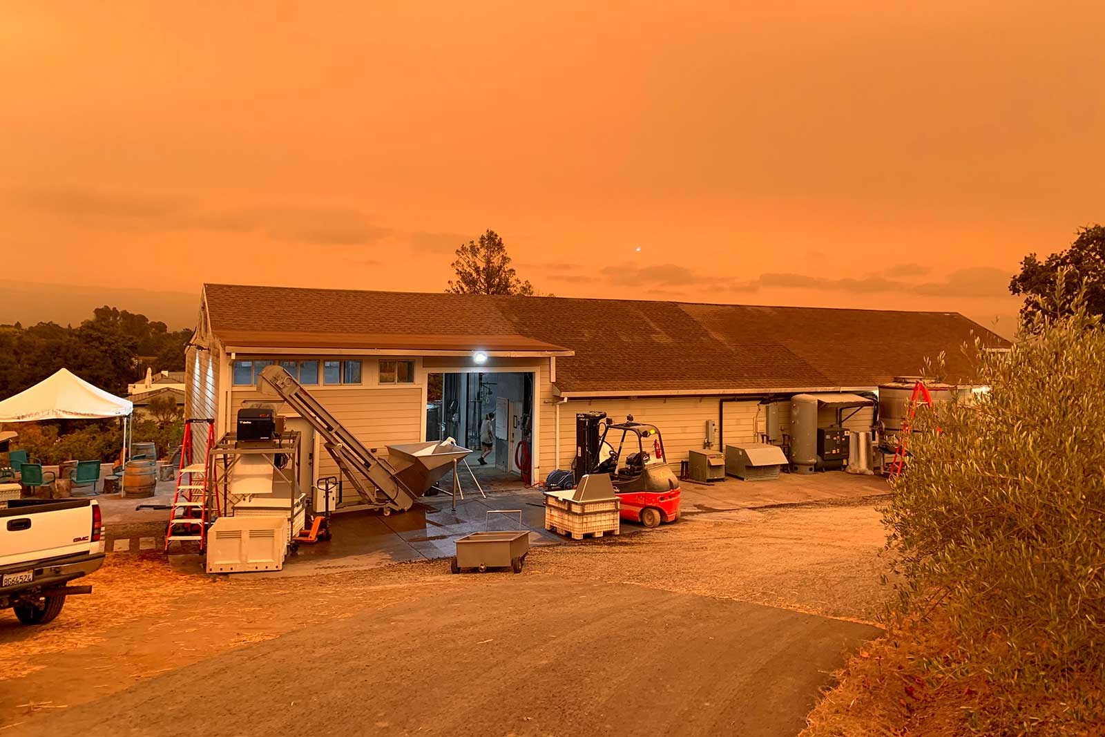 Smoke from the LCU Lightning Complex and Glass Fires tilted the skies over Napa ominously orange for weeks on end. ©Steve Matthiasson
