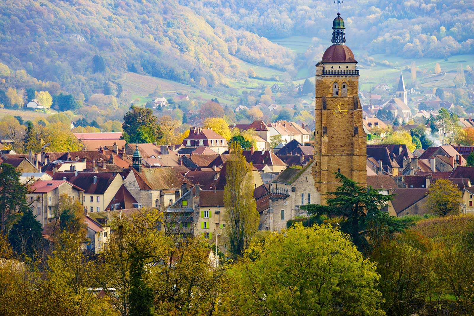 The town of Arbois is at the center of wine production in the Jura, and lends its namesake to the Arbois AOC, of which Tissot has several wines. (Stock photo)