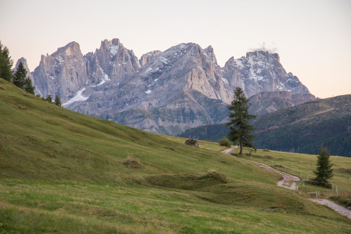 A dusk view of San Martino, a mountain complex in the Trentino Dolomites. ©Kevin Day/Opening a Bottle
