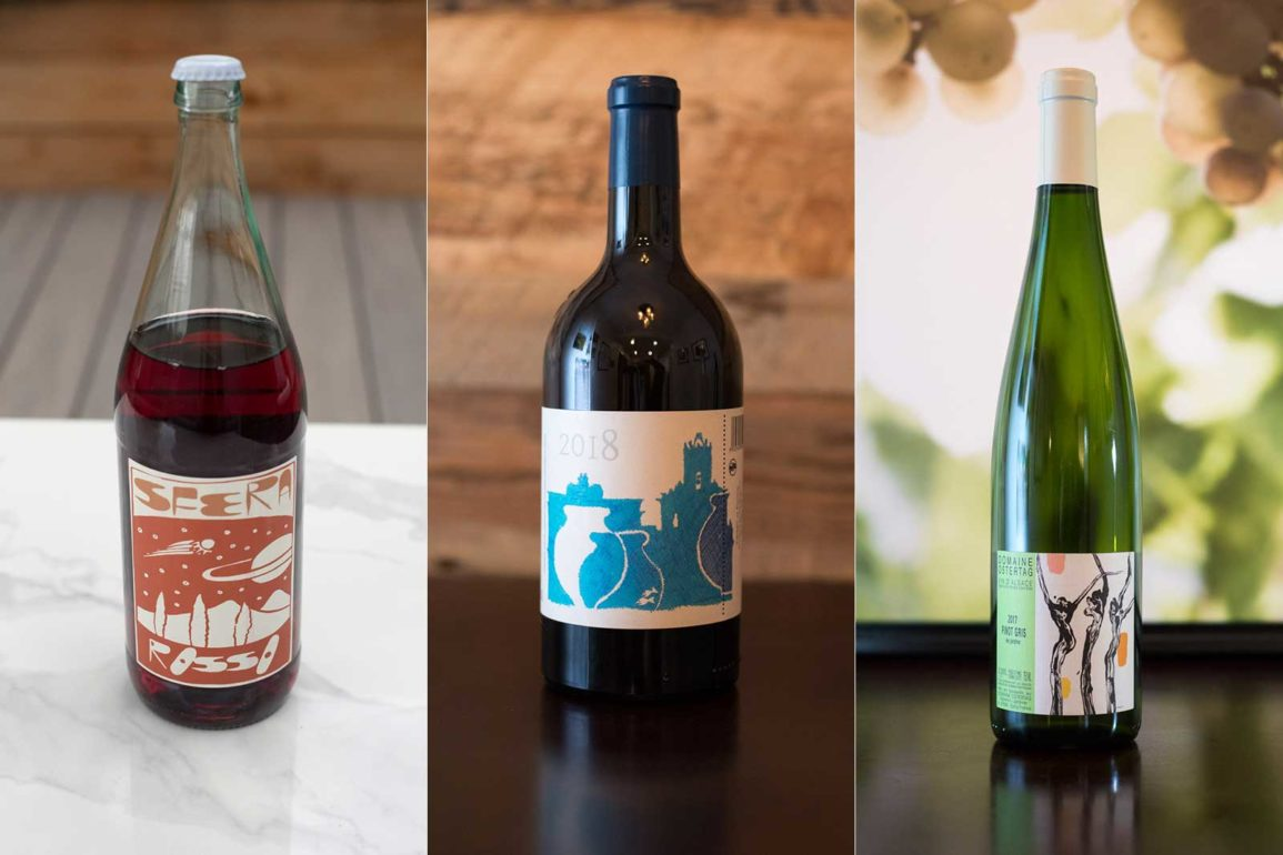 A selection of natural wines: Sfera and COS from Italy, Ostertag from France ©Kevin Day/Opening a Bottle