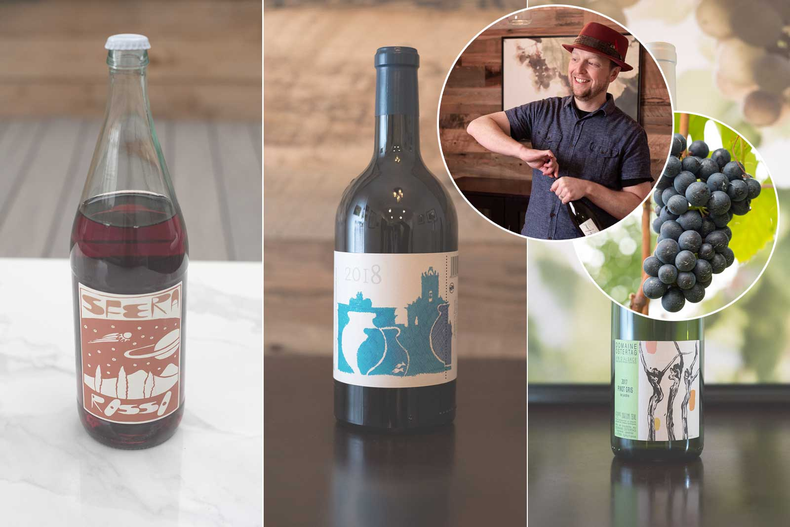 Three bottles of natural wine and wine writer Kevin Day, for an upcoming Natural Wine Virtual Tasting