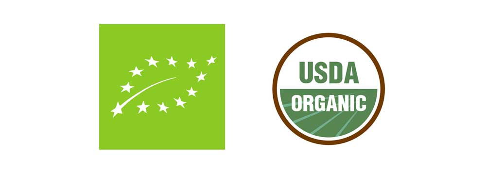 Certified organic logos from the EU and USA